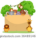 Blank paper with many wild animals 36489146
