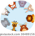 Round border with cute animals 36489156