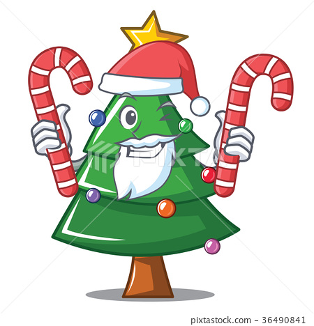 Christmas Pictures Cartoon.Santa With Candy Christmas Tree Character Cartoon Stock