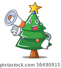 With megaphone Christmas tree character cartoon 36490915