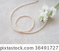진주 목걸이와 하얀 꽃 36491727