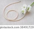 진주 목걸이와 하얀 꽃 36491729