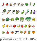 Hand-painted vegetables and fruit sketch illustration 36493052