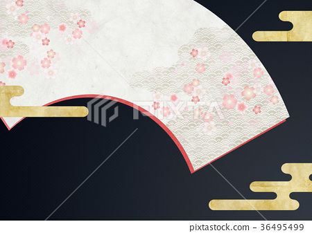 Background material (fan, cherry blossom) to feel sum 36495499