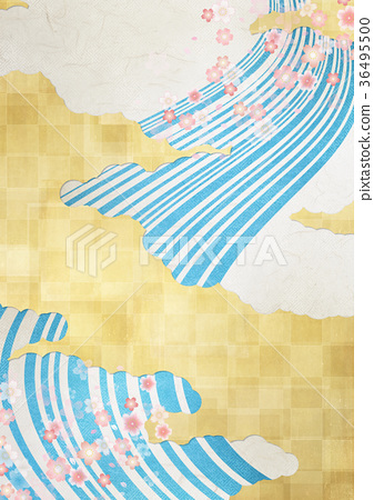 Background material (gold leaf, clouds, streamline, autumn leaves) to feel sum 36495500