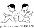 Hand drawn Boys Reading and Using tablet 36496178