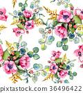 Wildflower bouquet pattern in a watercolor style. 36496422