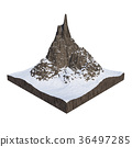 Mountain covered with white snow land cut 36497285