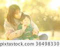 肥皂泡 父母和小孩 親子 36498330
