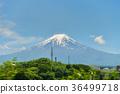 Fuji mountain with blue sky. 36499718