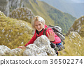 happy senior female hiker enjoying outdoor 36502274