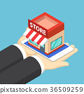 Businessman hands and tablet with shopping store. 36509259
