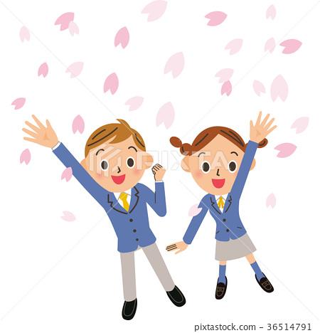 櫻花和學生 36514791