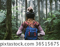 Young woman traveler walking in the forest 36515675