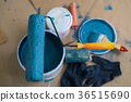 Paint bucket with roller, glove and brush 36515690