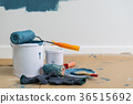 Paint bucket with roller, glove and brush 36515692