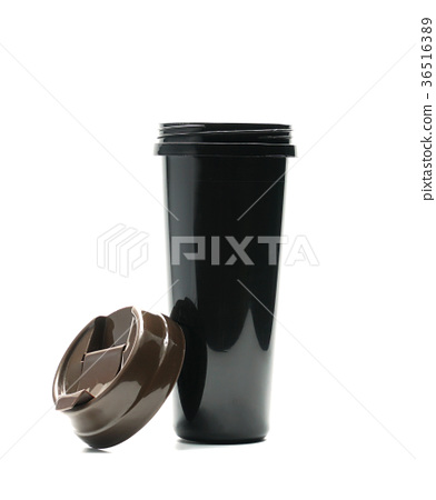 Black thermos bottle with open lid isolated  36516389