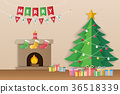 Christmas tree, gifts and decorated fireplace. 36518339
