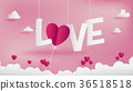 LOVE text of Valentines paper art conception. 36518518
