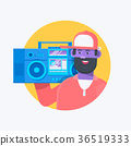 Rapper musician in a baseball cap with boombox 36519333