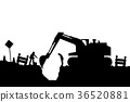 tractor and builders silhouette 36520881