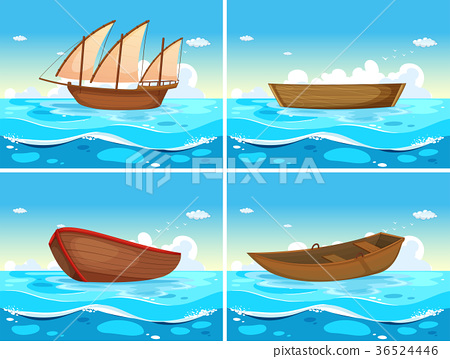Four scenes of boats in the ocean 36524446
