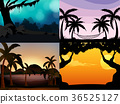 Four nature scenes with silhouette trees 36525127