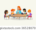 Redhead female teacher showing picture to children 36528070