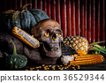 Still Life with human Skull and fruit on wooden 36529344