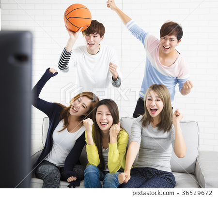 young group Watching Sports On Television  36529672