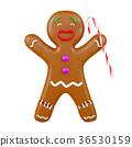 Joyful gingerbread man holding Christmas cane 36530159