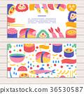 Set of cards on Japanese Sushi  theme. 36530587