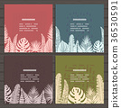 Set of cards on tropical jungle leaves theme. 36530591