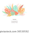Card on tropical jungle leaves theme. 36530592