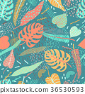 Vector seamless pattern with tropical  leaves. 36530593