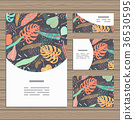 Set of cards on tropical jungle leaves theme. 36530595