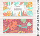 Set of cards on tropical jungle leaves theme. 36530598