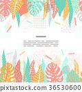 Tropical leaves vector seamless border. 36530600