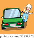 A man and motorcycle crush with front of car 36537923
