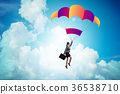 Businesswoman flying on parachute in business 36538710