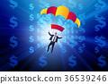 Businessman in golden parachute concept 36539246