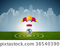 Concept with dollar in golden parachute 36540390