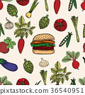 Seamless pattern of Colored Vegetable 36540951