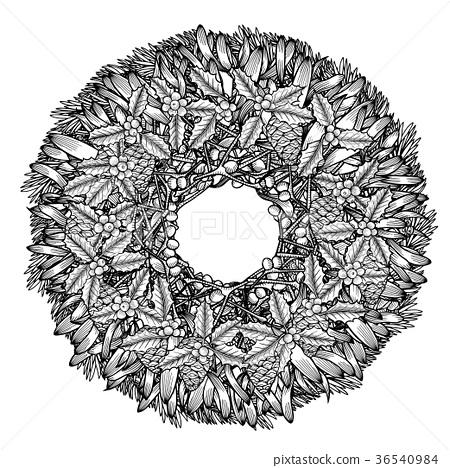 Christmas wreath illustration 36540984