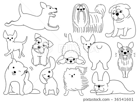 Doodle style dog group line drawing 36541601