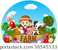 Farm scenes with many animals and farmers 36545533
