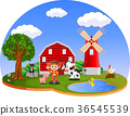 Farm scenes with many animals and farmers 36545539