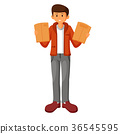 young man holding clipboard with papers 36545595