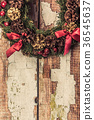 christmas wreath on wood background 36545637