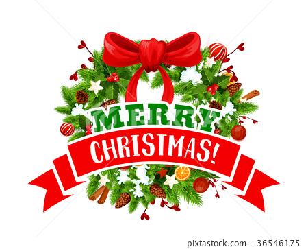 Christmas tree wreath with bow icon of Xmas design 36546175